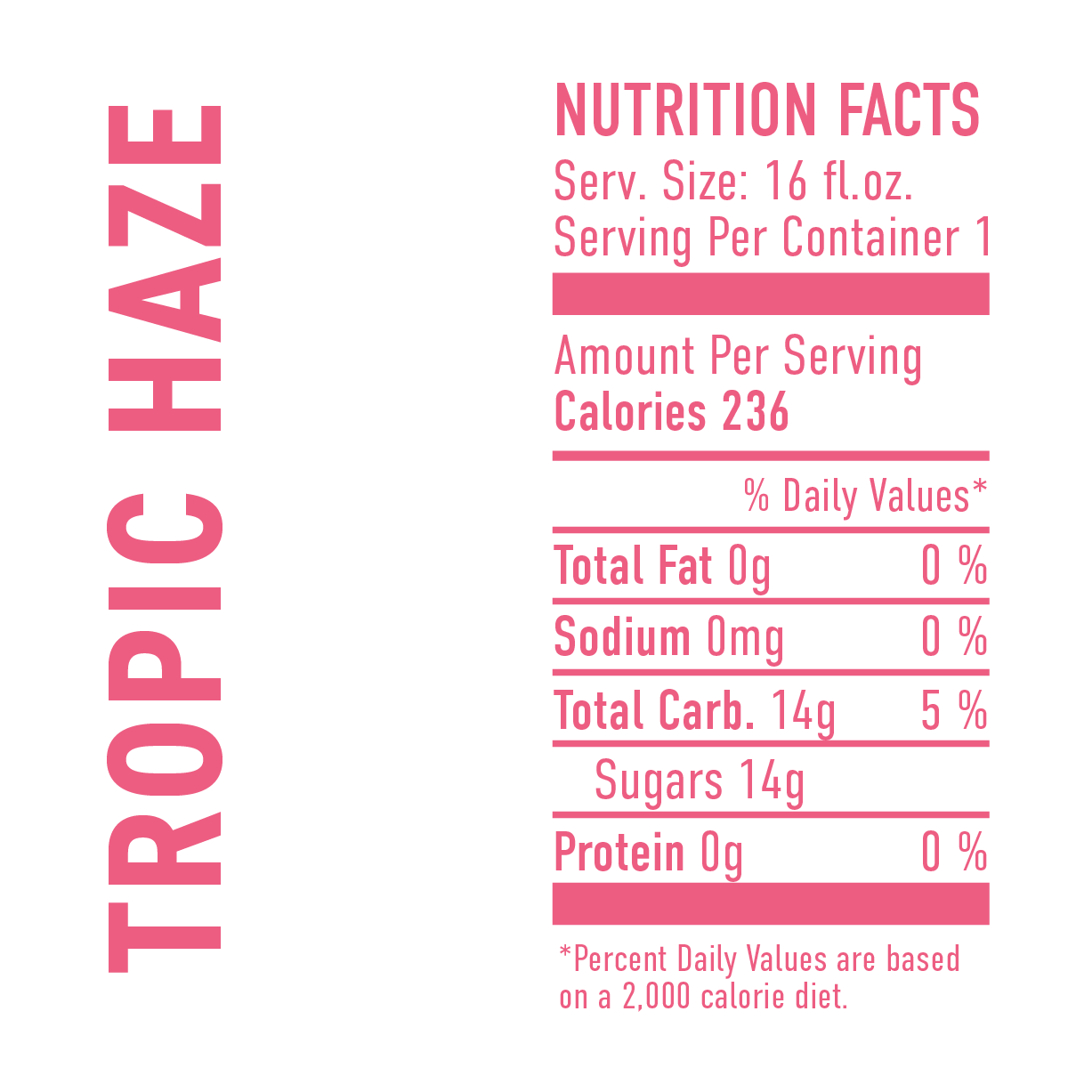 Tropic Haze Nutrition Facts