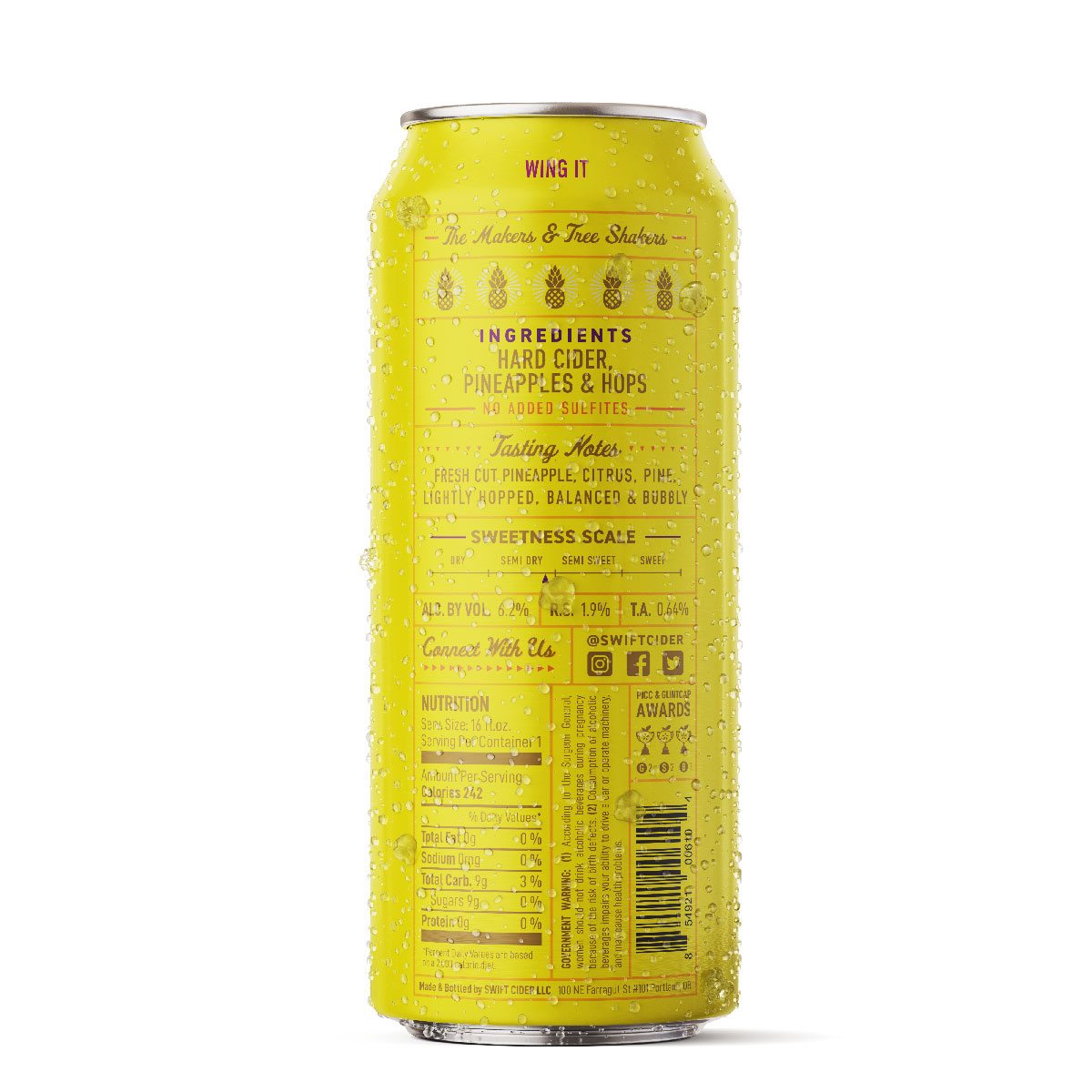 Pineapple Hop Cider 16oz Can Back